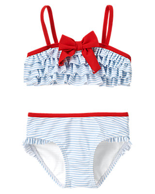 Seaside Blue Stripe Stripe Ruffle Bikini at JanieandJack