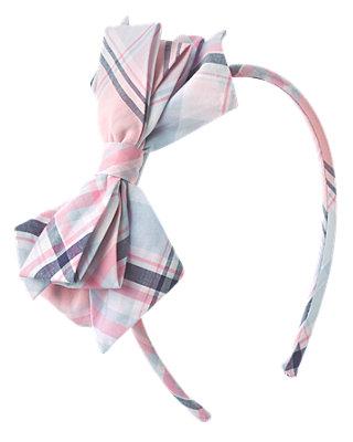 Shell Pink Plaid Bow Plaid Headband at JanieandJack
