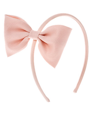 Rosebud Pink Bow Sateen Headband at JanieandJack