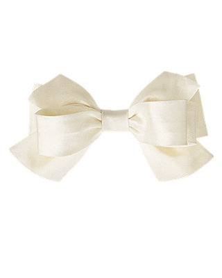 Jet Ivory Silk Bow Barrette at JanieandJack