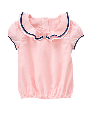 Shell Pink Tipped Ruffle Collar Top at JanieandJack