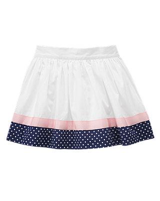 Pure White Ribbon Dot Trim Skirt at JanieandJack