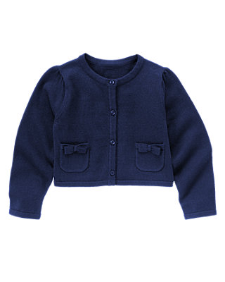 Capri Navy Bow Pocket Crop Cardigan at JanieandJack