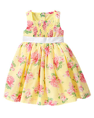 Yellow Rose Smocked Rose Floral Dress at JanieandJack