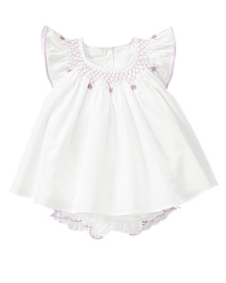 Pure White Hand-Embroidered Sateen Two-Piece Set at JanieandJack