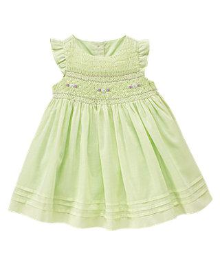 Mint Green Floral Smocked Dress at JanieandJack