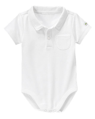 Pure White Piped Polo Bodysuit at JanieandJack