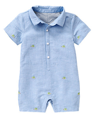 Turtle Blue Turtle Embroidered One-Piece at JanieandJack