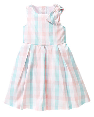 Blossom Pink Plaid Bow Plaid Silk Dress at JanieandJack