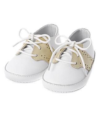 Pure White Leather Saddle Crib Shoe at JanieandJack