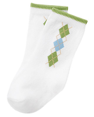 Pure White Argyle Sock at JanieandJack
