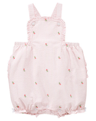 Marshmallow Pink Stripe Rose Stripe Seersucker Overall at JanieandJack
