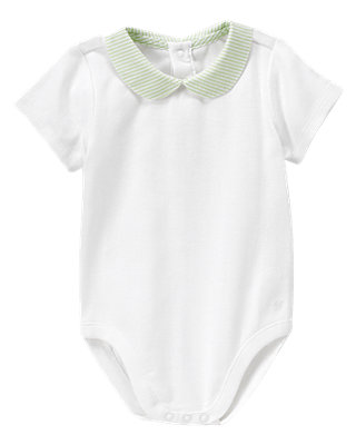 Pure White Stripe Seersucker Collar Bodysuit at JanieandJack