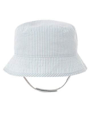 Signature Blue Stripe Stripe Seersucker Bucket Hat at JanieandJack