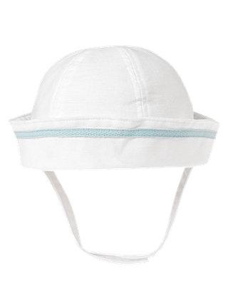 Pure White Sailor Linen Blend Hat at JanieandJack