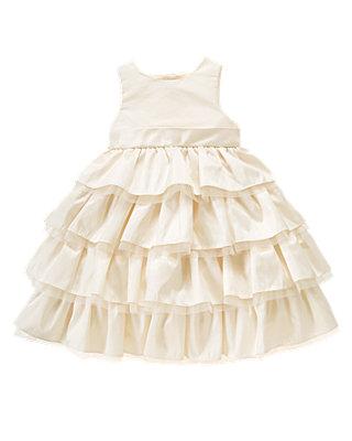 Jet Ivory Ruffle Tiered Silk Dress at JanieandJack