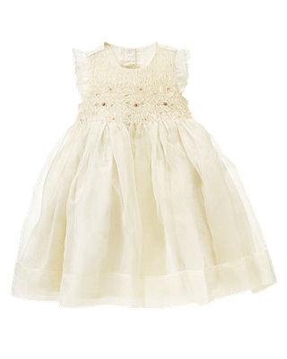 Jet Ivory Hand-Smocked Rosebud Silk Dress at JanieandJack