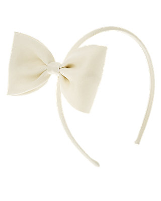 Jet Ivory Bow Sateen Headband at JanieandJack