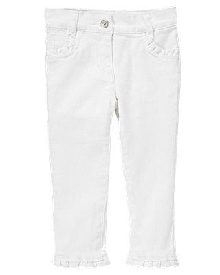 Pure White Ruffle White Denim Jean at JanieandJack