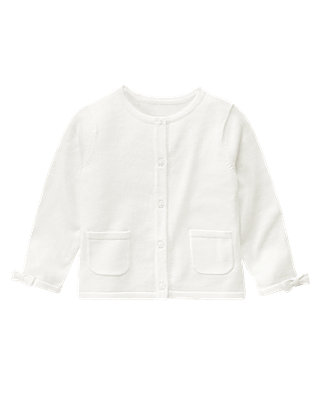 Pure White Pocket Cardigan at JanieandJack