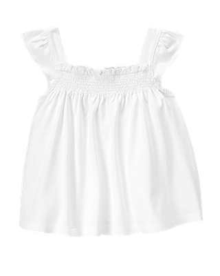 Pure White Smocked Top at JanieandJack