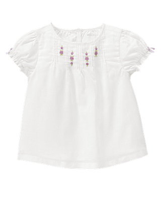 Pure White Floral Pintucked Top at JanieandJack