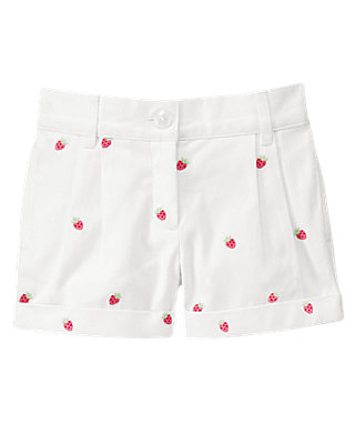 Pure White Strawberry Cuffed Short at JanieandJack