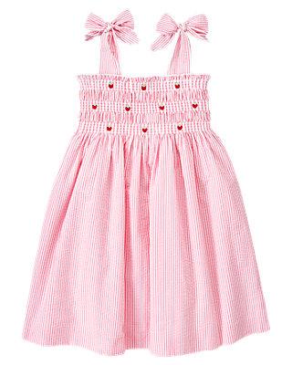 Berry Pink Stripe Strawberry Stripe Seersucker Dress at JanieandJack