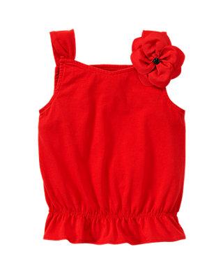 Scarlet Red Rosette Top at JanieandJack