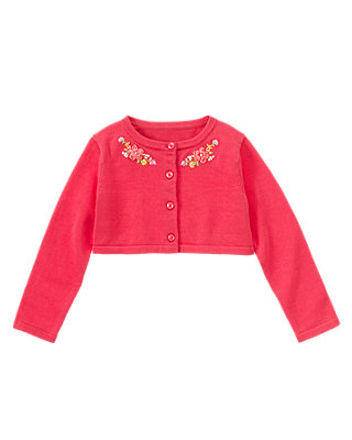 Bright Pink Hand-Embroidered Crop Cardigan at JanieandJack