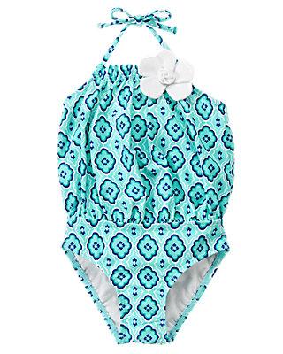 Aqua Mosaic Flower Mosaic Swimsuit at JanieandJack