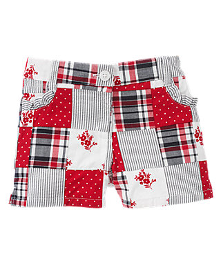 Cherry Red Patchwork Patchwork Bermuda Short at JanieandJack