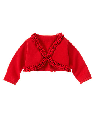Cherry Red Ruffle Crop Cardigan at JanieandJack