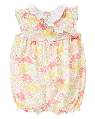 Rosy Pink Floral Ruffle Collar Floral Bubble at JanieandJack