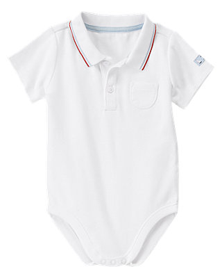 Baby Boy Pure White Tipped Polo Bodysuit at JanieandJack