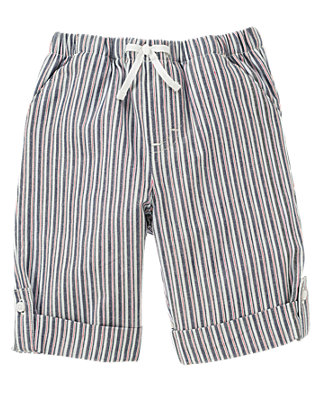 Sailboat Blue Stripe Dobby Stripe Roll Cuff Pant at JanieandJack