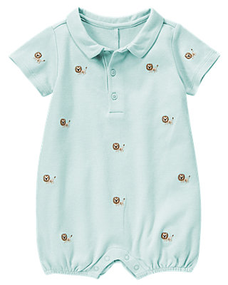 Safari Blue Lion Embroidered One-Piece at JanieandJack