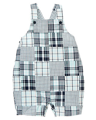 Safari Blue Patchwork Plaid Patchwork Shortall at JanieandJack