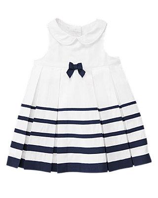 Pure White Ribbon Stripe Dress at JanieandJack
