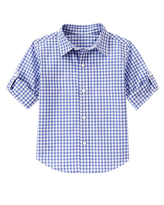 Periwinkle Blue Check Gingham Roll Cuff Shirt at JanieandJack