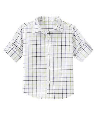 White Plaid Tattersall Roll Cuff Shirt at JanieandJack