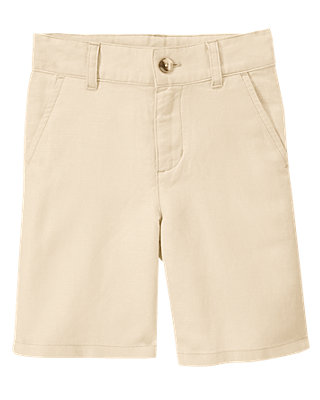 Boys Light Khaki Linen Blend Short at JanieandJack