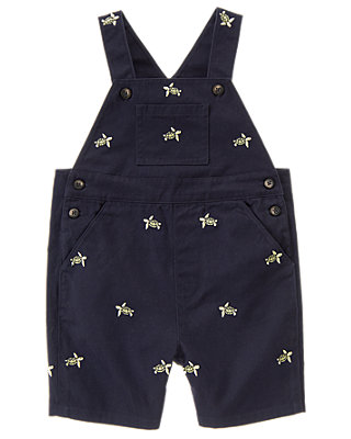 Dark Navy Embroidered Turtle Shortall at JanieandJack