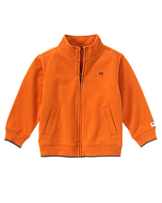 Jungle Orange Zip Front Cardigan at JanieandJack