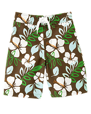 Brown Hibiscus Hibiscus Swim Trunk at JanieandJack