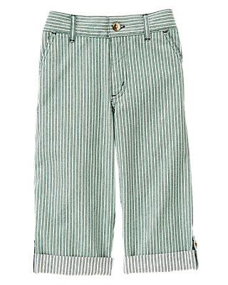 Boys Harbor Green Stripe Stripe Roll Cuff Pant at JanieandJack