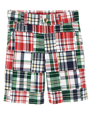 Boys Sailboat Red Patchwork Plaid Patchwork Short at JanieandJack
