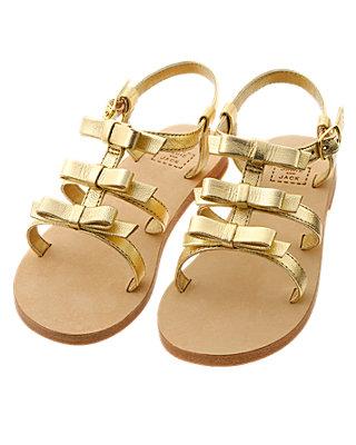 Metallic Gold Bow Metallic Leather Sandal at JanieandJack