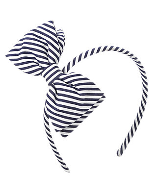Classic Navy Stripe Bow Stripe Headband at JanieandJack