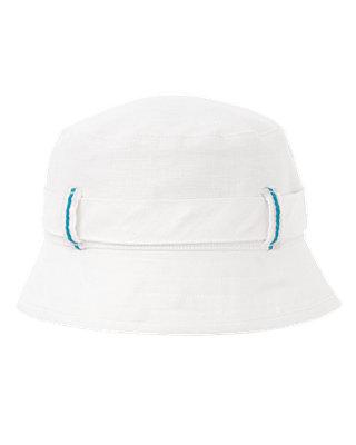 Boys Pure White Linen Blend Bucket Hat at JanieandJack